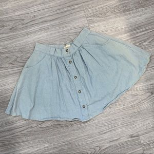 TOBI Light Wash Denim Mini Skirt